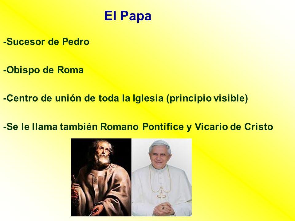 El Papa -Sucesor de Pedro -Obispo de Roma -Centro de unión de toda la Iglesia (principio visible) -Se le llama también Romano Pontífice y Vicario de C