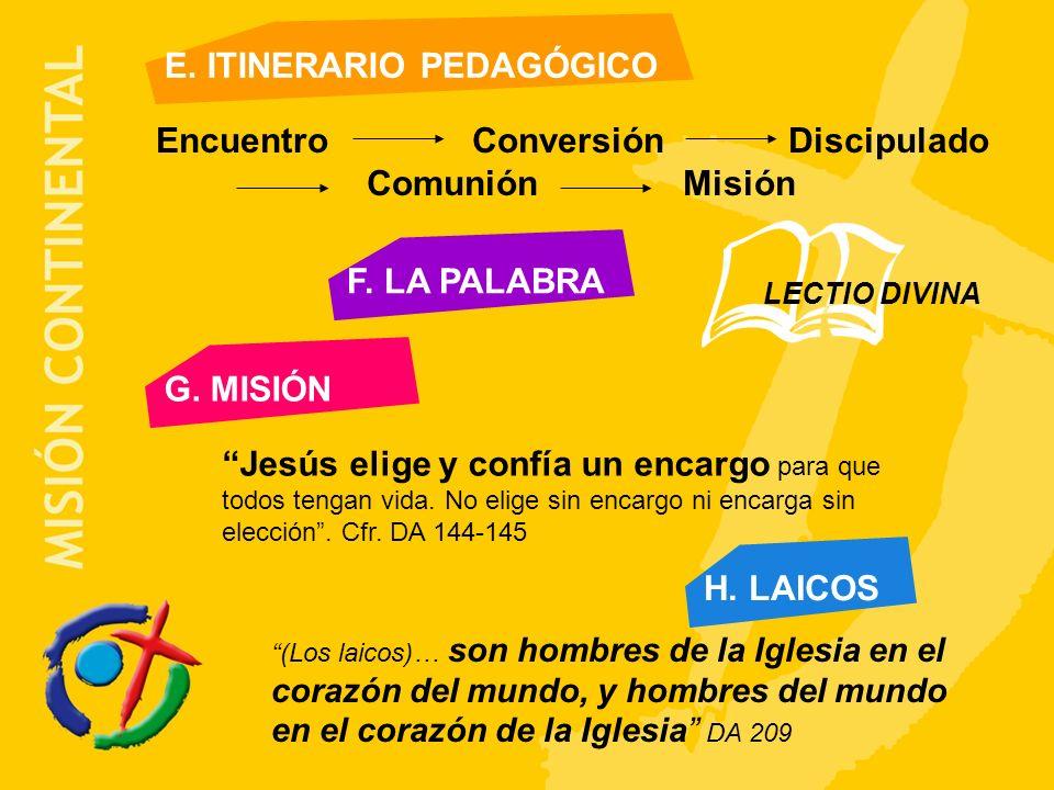 F.LA PALABRA G. MISIÓN Jesús elige y confía un encargo para que todos tengan vida.