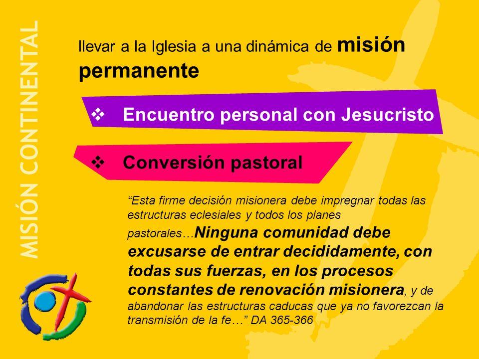 llevar a la Iglesia a una dinámica de misión permanente Encuentro personal con Jesucristo Conversión pastoral Esta firme decisión misionera debe impre