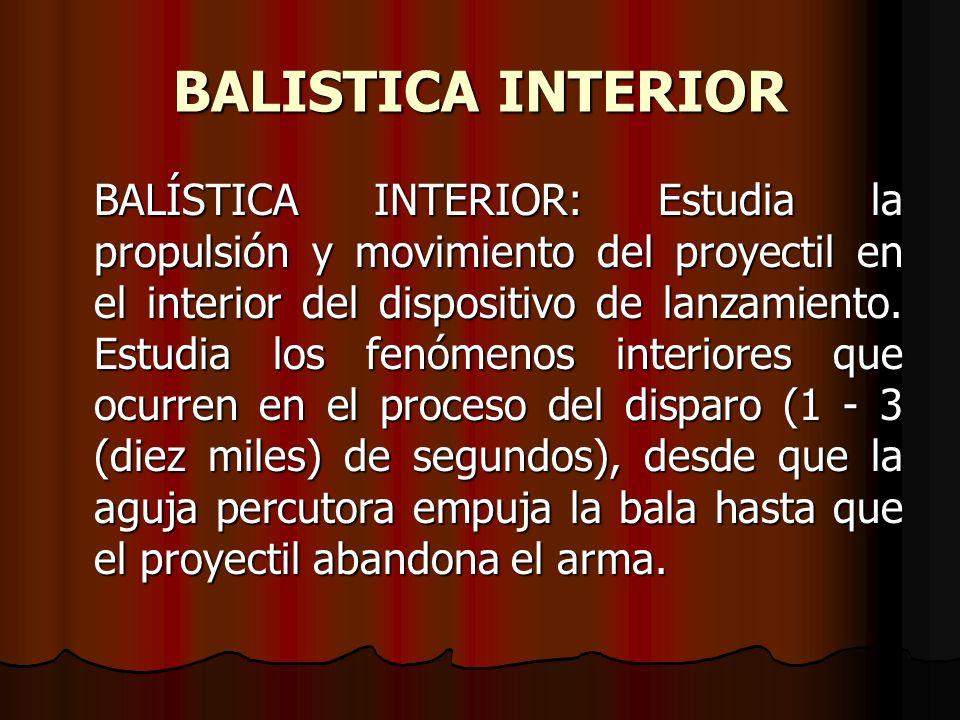 BALISTICA INTERIOR BALÍSTICA INTERIOR: Estudia la propulsión y movimiento del proyectil en el interior del dispositivo de lanzamiento.