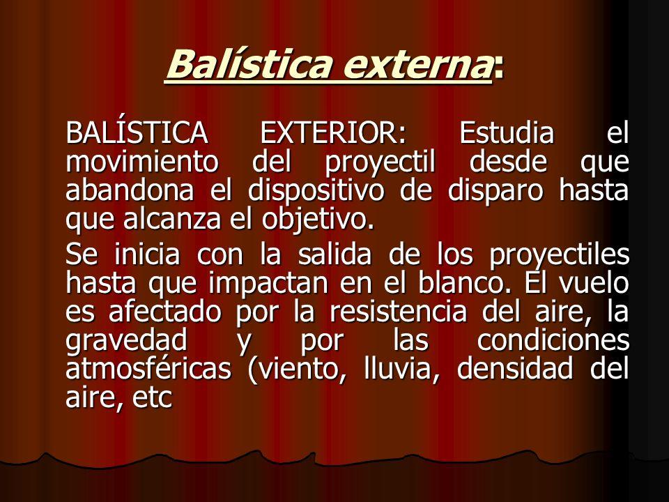 Balística externa: BALÍSTICA EXTERIOR: Estudia el movimiento del proyectil desde que abandona el dispositivo de disparo hasta que alcanza el objetivo.
