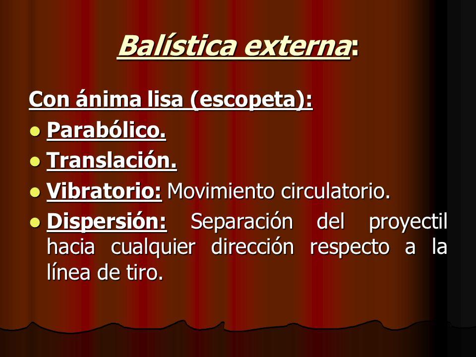 Balística externa: Con ánima lisa (escopeta): Parabólico.