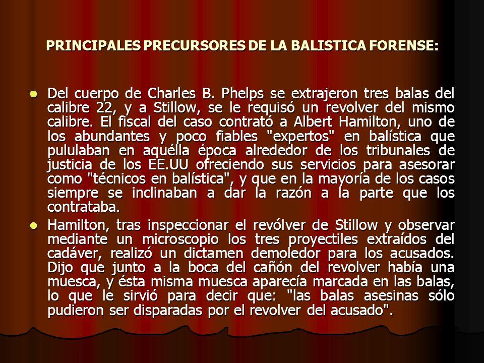 PRINCIPALES PRECURSORES DE LA BALISTICA FORENSE: Del cuerpo de Charles B.