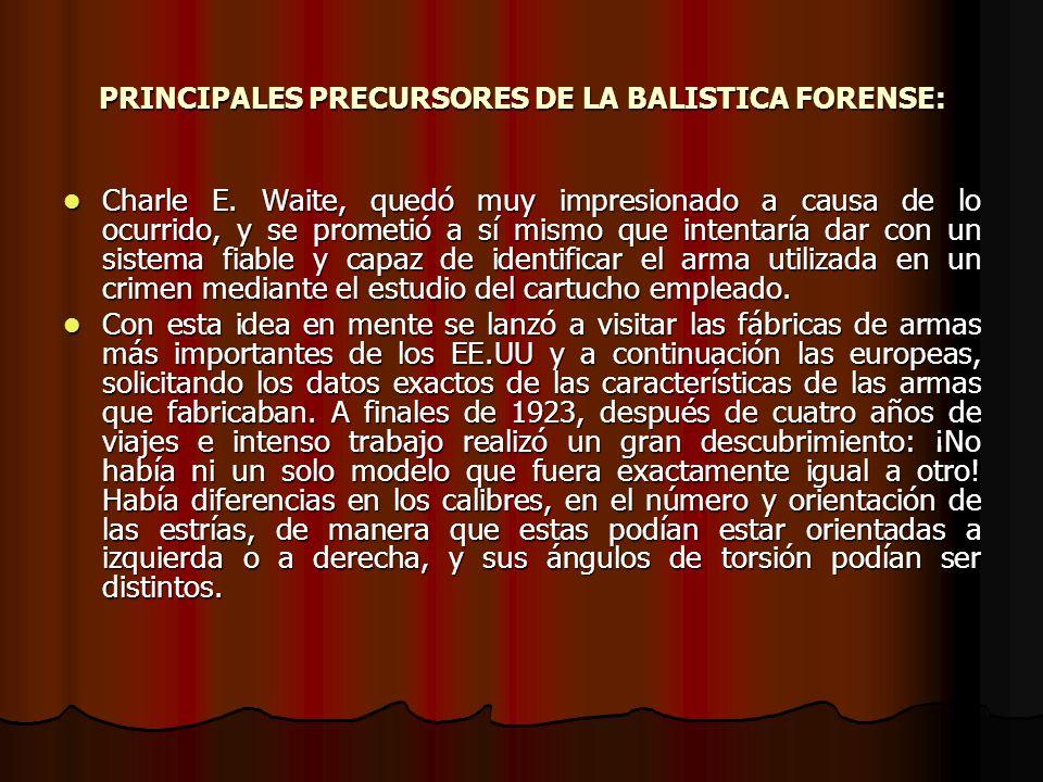PRINCIPALES PRECURSORES DE LA BALISTICA FORENSE: Charle E.