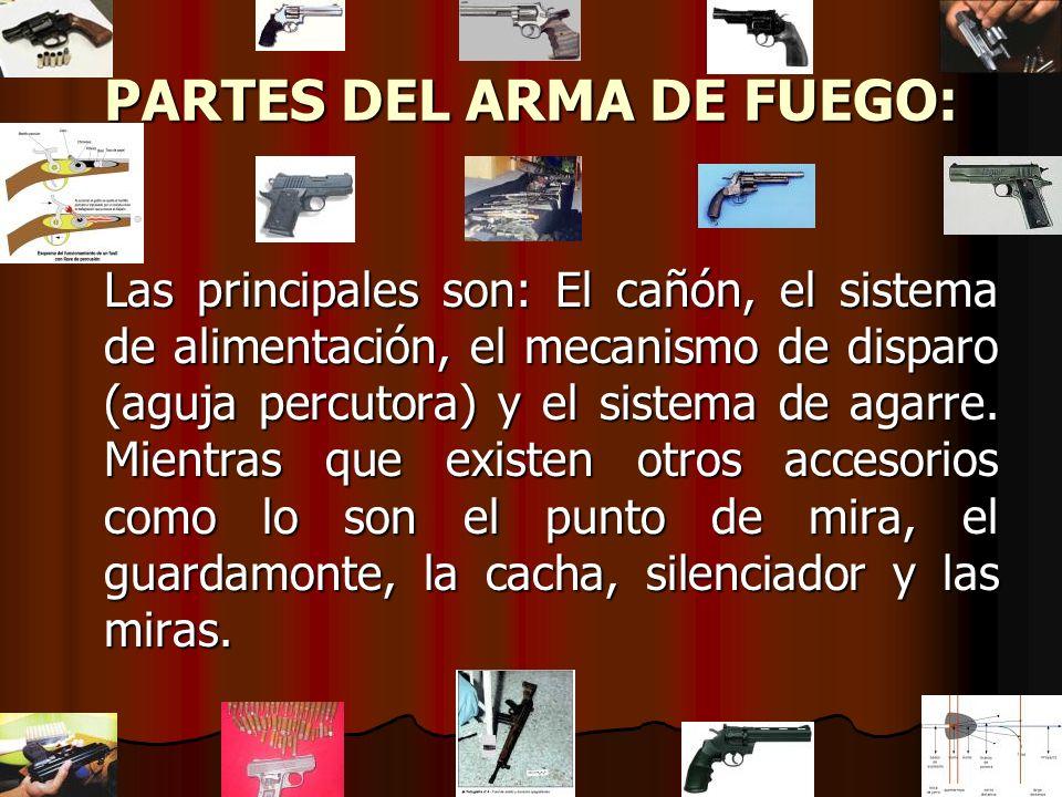 PARTES DEL ARMA DE FUEGO: Las principales son: El cañón, el sistema de alimentación, el mecanismo de disparo (aguja percutora) y el sistema de agarre.