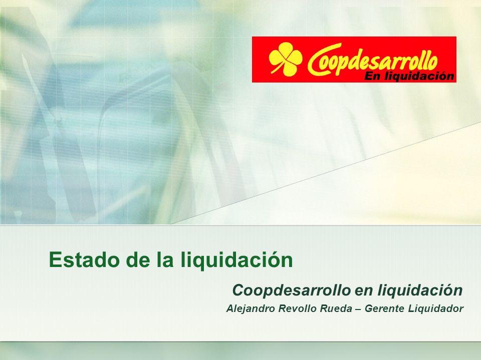 Estado de la liquidación Coopdesarrollo en liquidación Alejandro Revollo Rueda – Gerente Liquidador