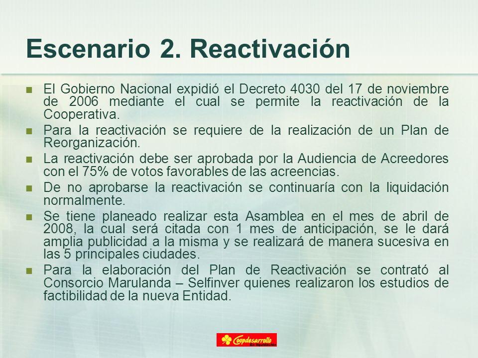 Escenario 2. Reactivación El Gobierno Nacional expidió el Decreto 4030 del 17 de noviembre de 2006 mediante el cual se permite la reactivación de la C
