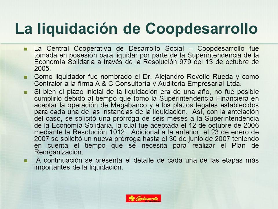 La liquidación de Coopdesarrollo La Central Cooperativa de Desarrollo Social – Coopdesarrollo fue tomada en posesión para liquidar por parte de la Sup