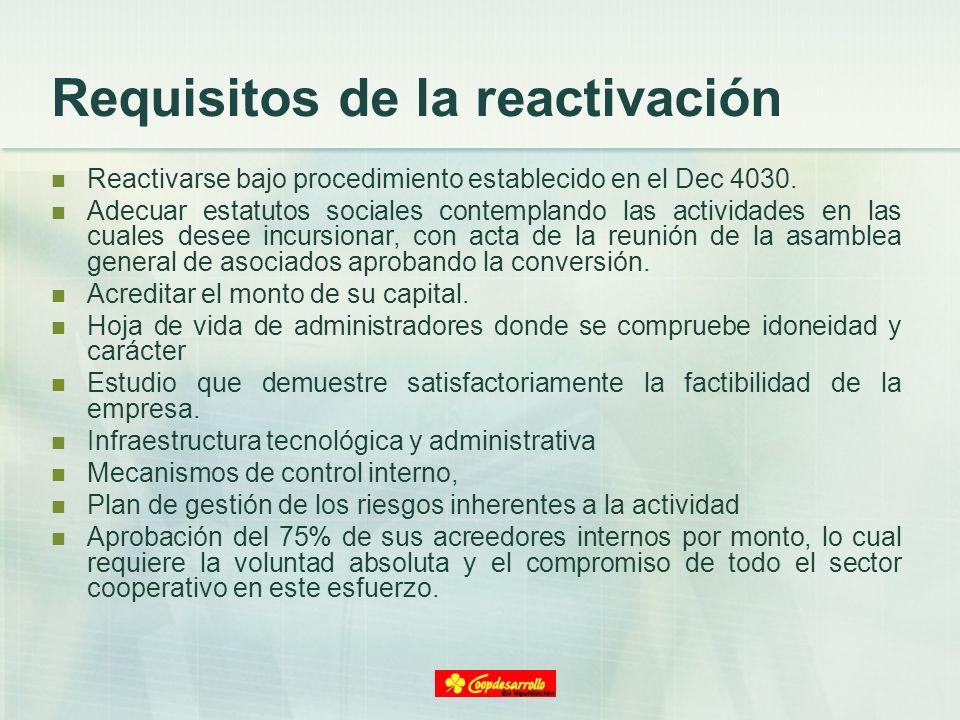 Requisitos de la reactivación Reactivarse bajo procedimiento establecido en el Dec 4030. Adecuar estatutos sociales contemplando las actividades en la