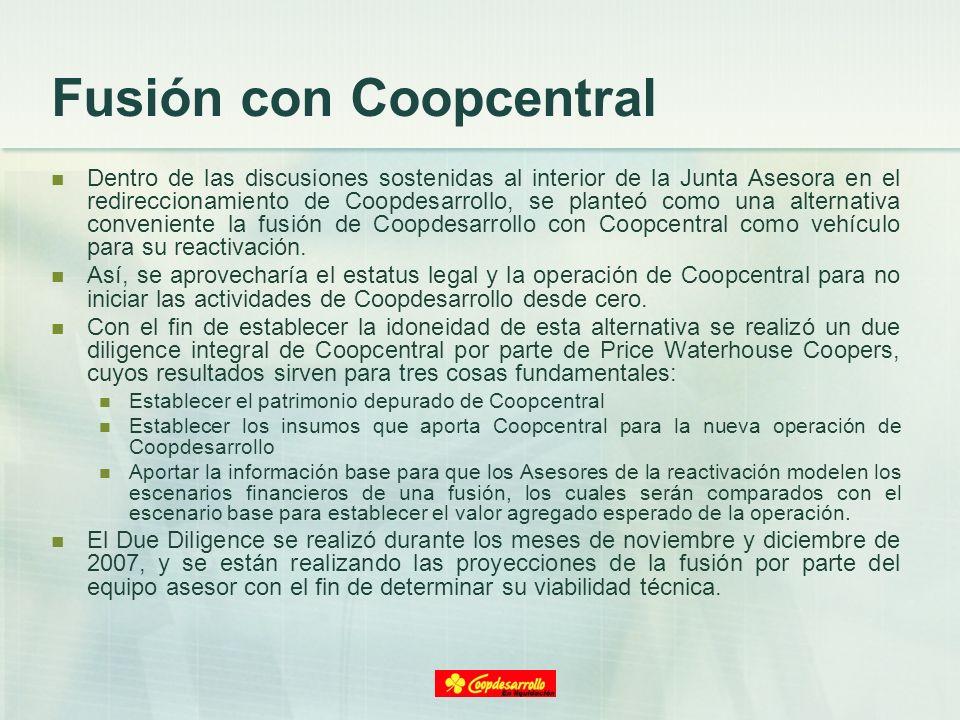Fusión con Coopcentral Dentro de las discusiones sostenidas al interior de la Junta Asesora en el redireccionamiento de Coopdesarrollo, se planteó com