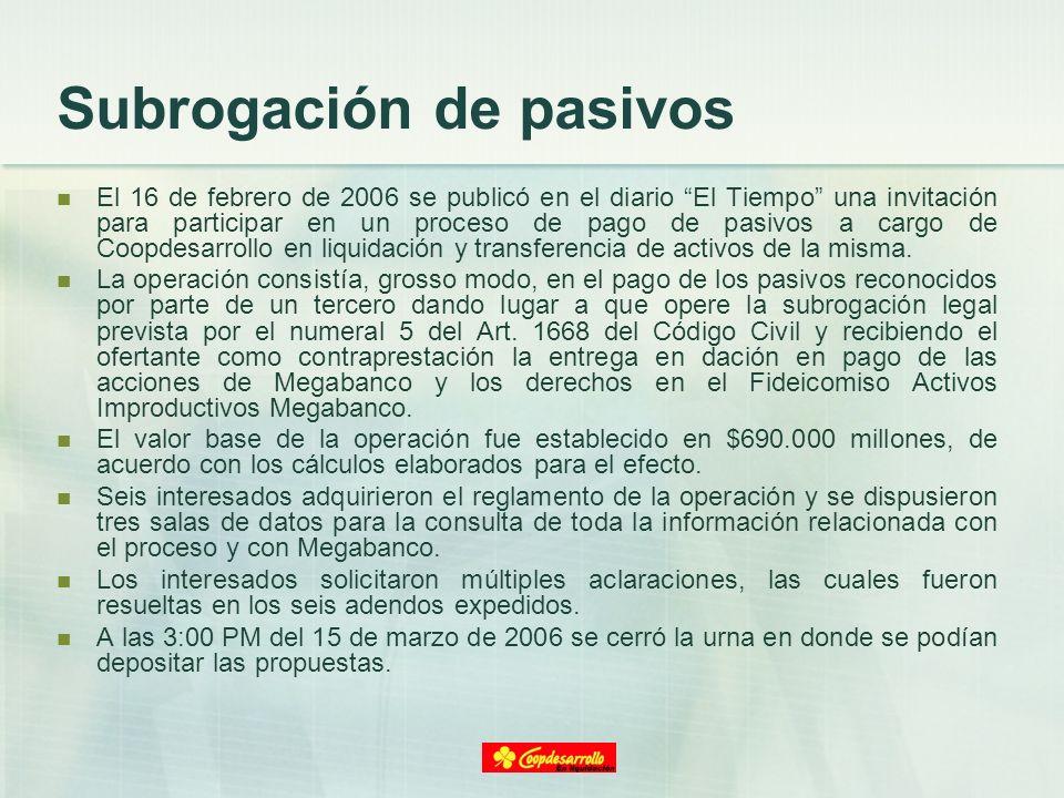 Subrogación de pasivos El 16 de febrero de 2006 se publicó en el diario El Tiempo una invitación para participar en un proceso de pago de pasivos a ca