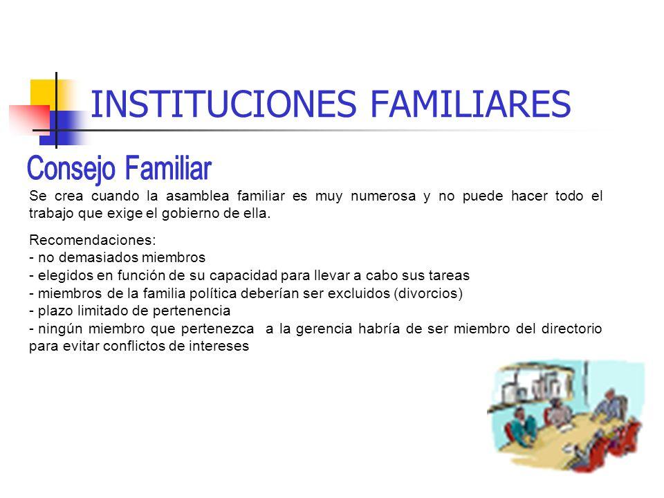 INSTITUCIONES FAMILIARES Etapa propietario-gestorBase de cultura y valores familiares Reunión informal con el/la conyugeSe comparte la información con