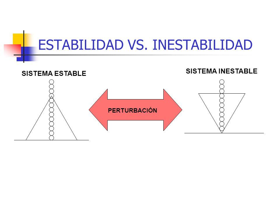 SISTEMAS INESTABLES (CAÓTICOS) En un sistema inestable una pequeña causa puede desordenar completamente el sistema. Un sistema inestable tiene escasa