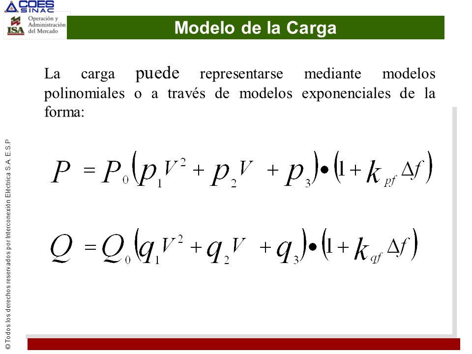 © Todos los derechos reservados por Interconexión Eléctrica S.A. E.S.P Modelo de la Carga La carga puede representarse mediante modelos polinomiales o
