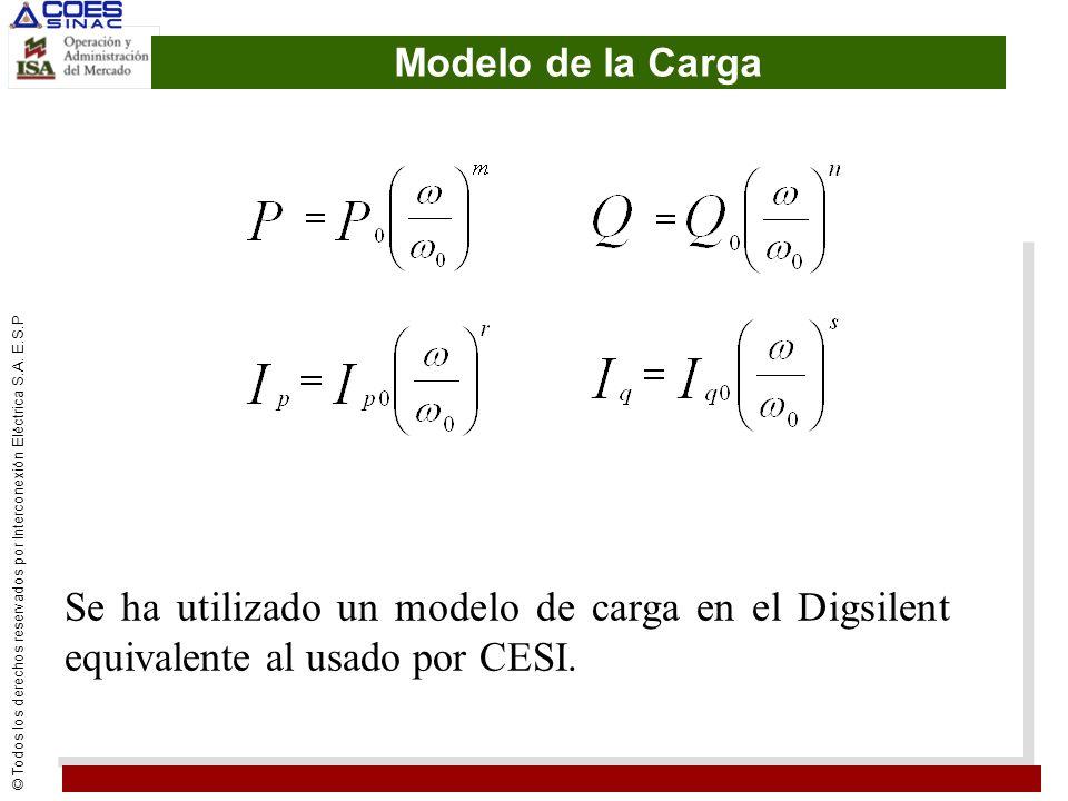 © Todos los derechos reservados por Interconexión Eléctrica S.A. E.S.P Modelo de la Carga Se ha utilizado un modelo de carga en el Digsilent equivalen