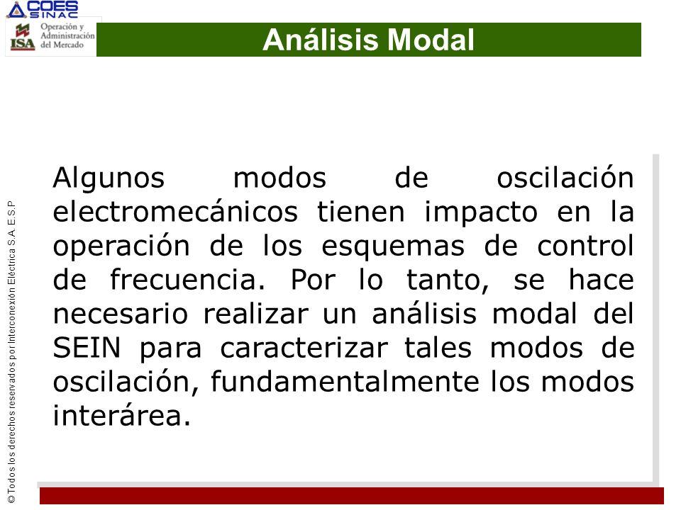 © Todos los derechos reservados por Interconexión Eléctrica S.A. E.S.P Análisis Modal Algunos modos de oscilación electromecánicos tienen impacto en l