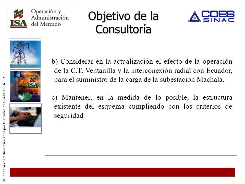 © Todos los derechos reservados por Interconexión Eléctrica S.A. E.S.P Objetivo de la Consultoría b) Considerar en la actualización el efecto de la op
