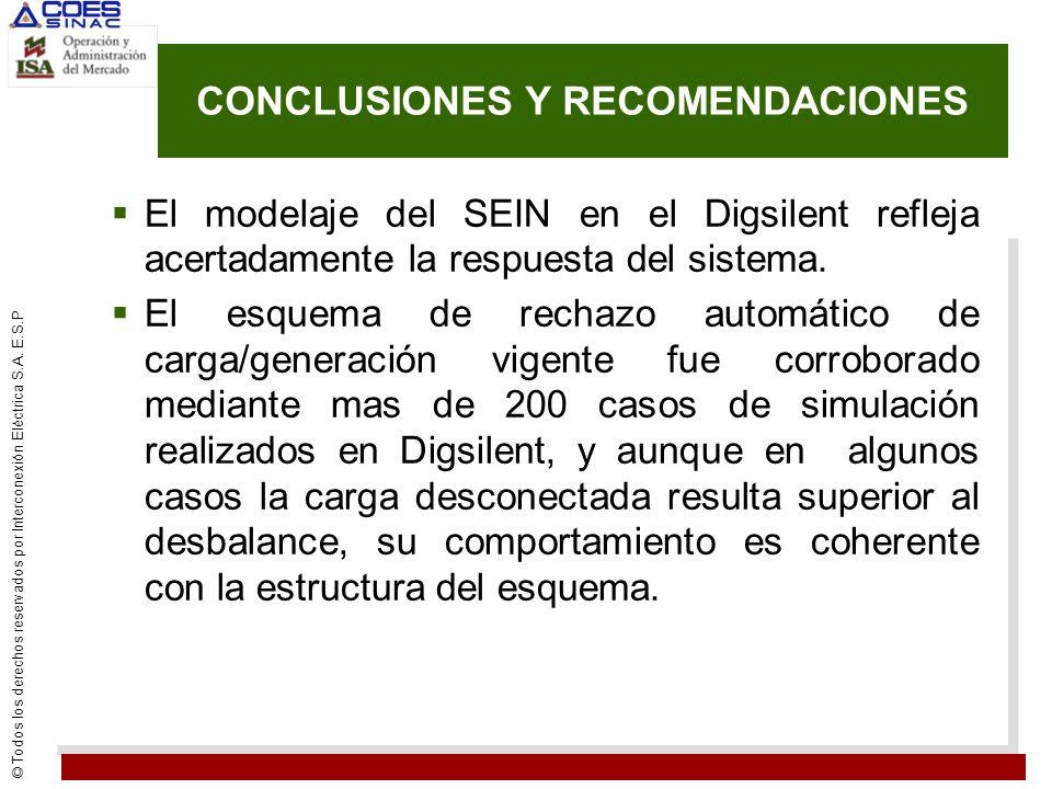 © Todos los derechos reservados por Interconexión Eléctrica S.A. E.S.P CONCLUSIONES Y RECOMENDACIONES El modelaje del SEIN en el Digsilent refleja ace