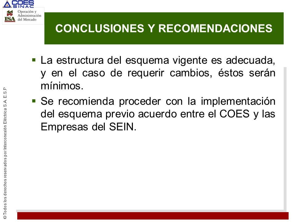 © Todos los derechos reservados por Interconexión Eléctrica S.A. E.S.P CONCLUSIONES Y RECOMENDACIONES La estructura del esquema vigente es adecuada, y