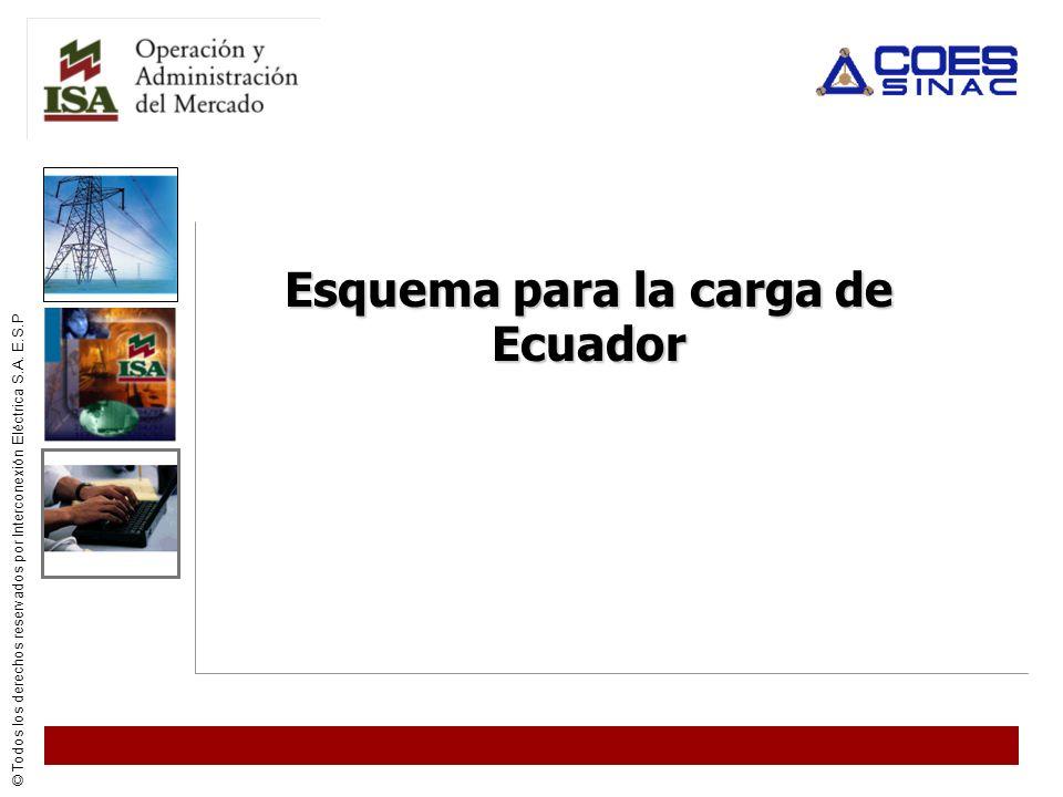 © Todos los derechos reservados por Interconexión Eléctrica S.A. E.S.P Esquema para la carga de Ecuador