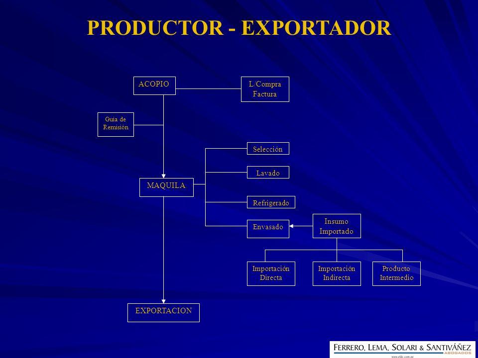 ACOPIOL/Compra Factura MAQUILA Guia de Remisión Selección Lavado Refrigerado Envasado Insumo Importado Importación Directa Importación Indirecta Produ