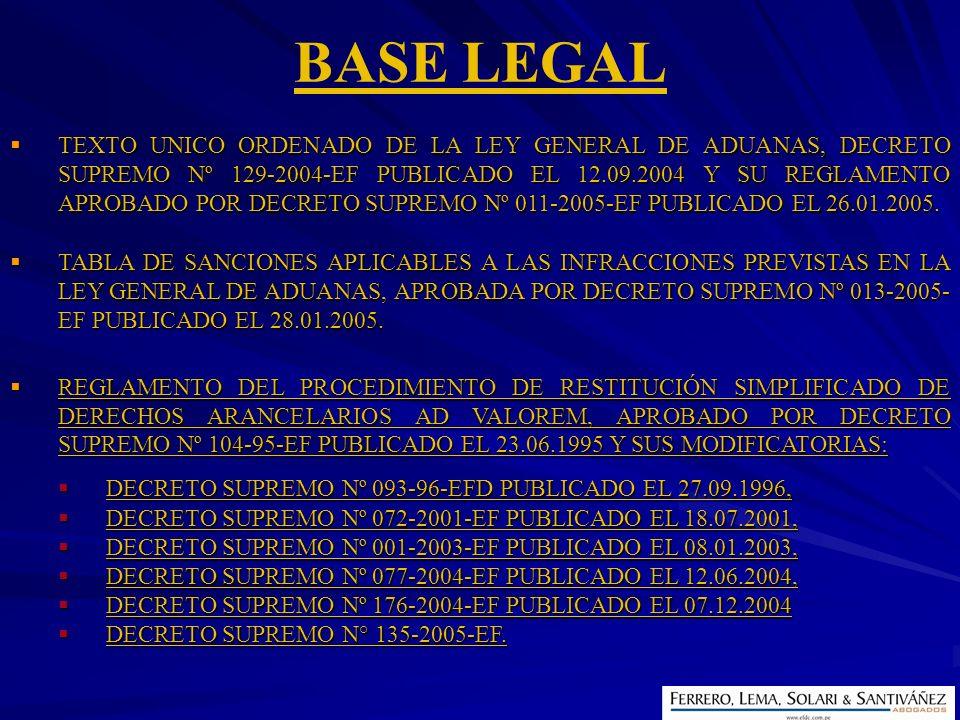 BASE LEGAL TEXTO UNICO ORDENADO DE LA LEY GENERAL DE ADUANAS, DECRETO SUPREMO Nº 129-2004-EF PUBLICADO EL 12.09.2004 Y SU REGLAMENTO APROBADO POR DECR