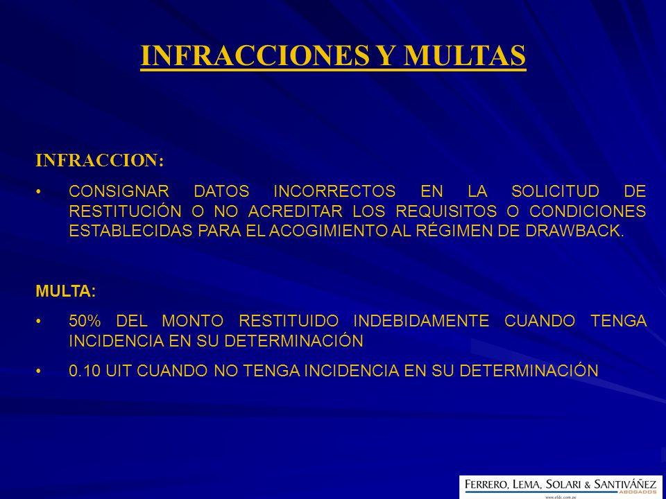 INFRACCIONES Y MULTAS INFRACCION: CONSIGNAR DATOS INCORRECTOS EN LA SOLICITUD DE RESTITUCIÓN O NO ACREDITAR LOS REQUISITOS O CONDICIONES ESTABLECIDAS