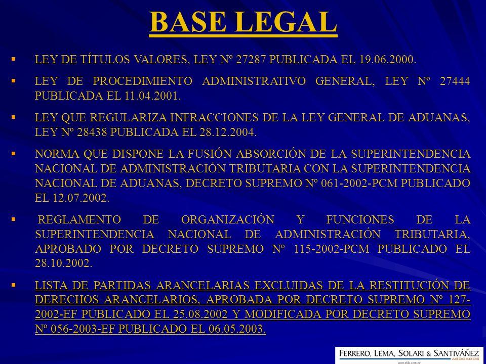 LEY DE TÍTULOS VALORES, LEY Nº 27287 PUBLICADA EL 19.06.2000. LEY DE PROCEDIMIENTO ADMINISTRATIVO GENERAL, LEY Nº 27444 PUBLICADA EL 11.04.2001. LEY Q