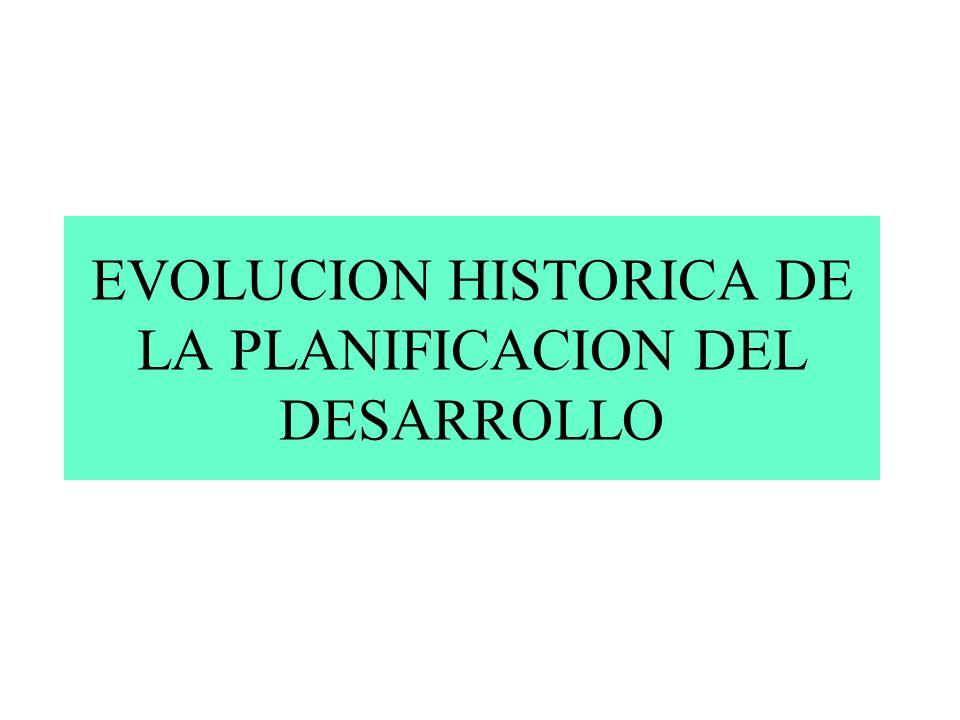 EVOLUCION HISTORICA DE LA PLANIFICACION DEL DESARROLLO