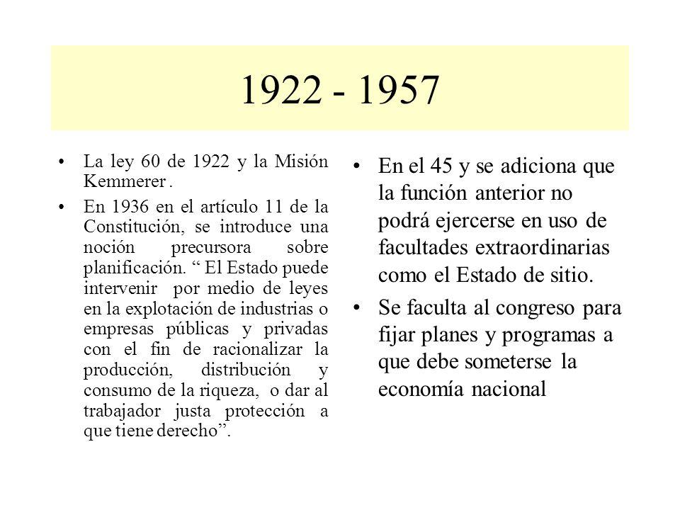 La ley 60 de 1922 y la Misión Kemmerer. En 1936 en el artículo 11 de la Constitución, se introduce una noción precursora sobre planificación. El Estad