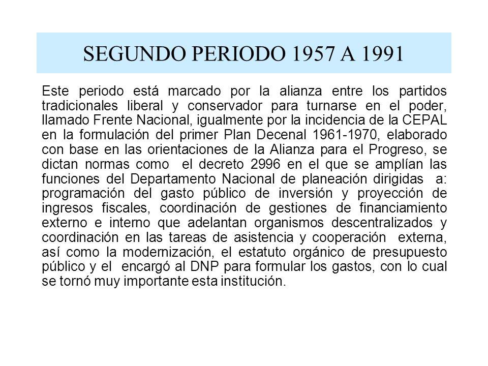 SEGUNDO PERIODO 1957 A 1991 Este periodo está marcado por la alianza entre los partidos tradicionales liberal y conservador para turnarse en el poder,