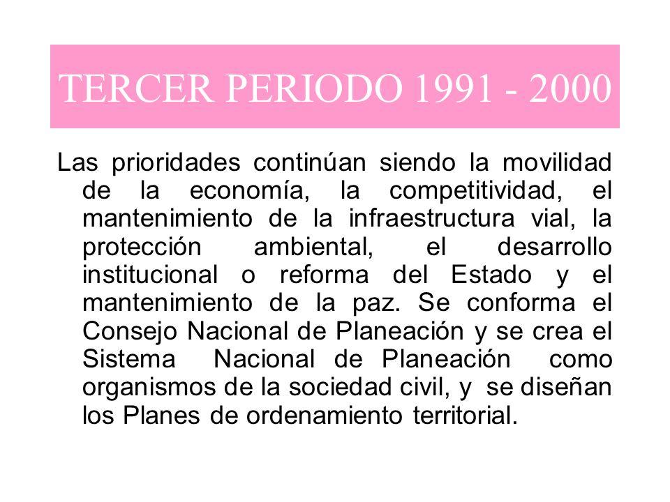 TERCER PERIODO 1991 - 2000 Las prioridades continúan siendo la movilidad de la economía, la competitividad, el mantenimiento de la infraestructura via