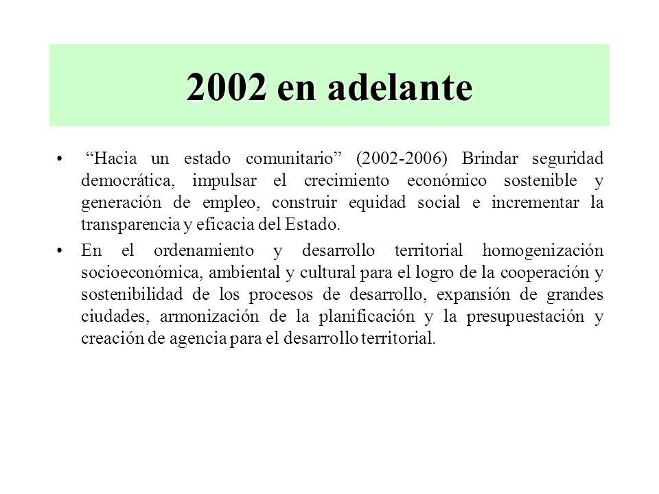 2002 en adelante Hacia un estado comunitario (2002-2006) Brindar seguridad democrática, impulsar el crecimiento económico sostenible y generación de e