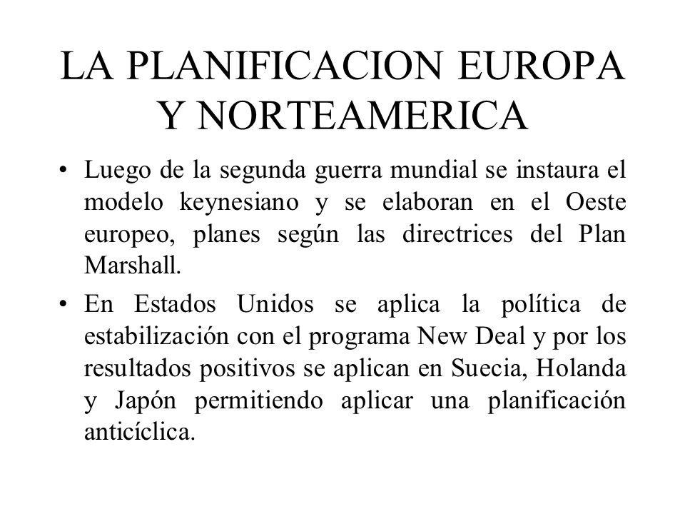 LA PLANIFICACION EUROPA Y NORTEAMERICA Luego de la segunda guerra mundial se instaura el modelo keynesiano y se elaboran en el Oeste europeo, planes s