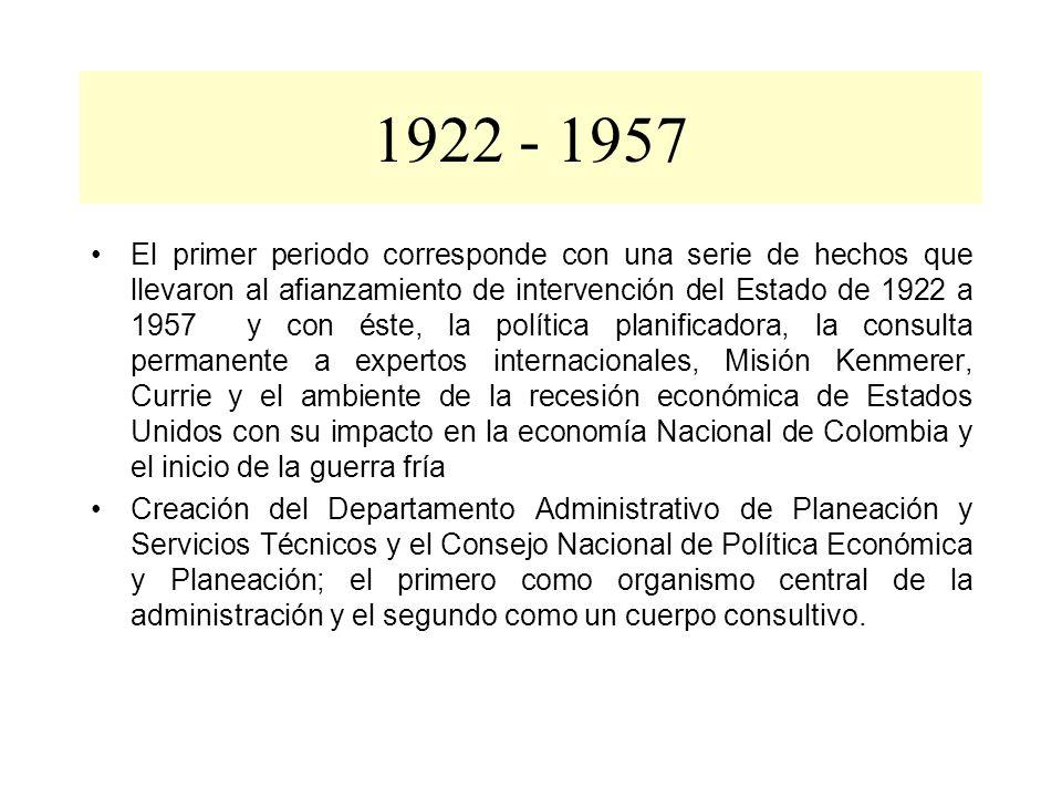 1922 - 1957 El primer periodo corresponde con una serie de hechos que llevaron al afianzamiento de intervención del Estado de 1922 a 1957 y con éste,
