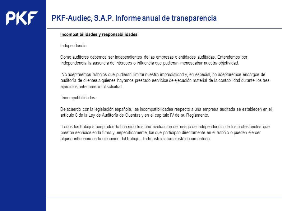 www.pkf.com Type the proposal Incompatibilidades y responsabilidades Independencia Como auditores debemos ser independientes de las empresas o entidad