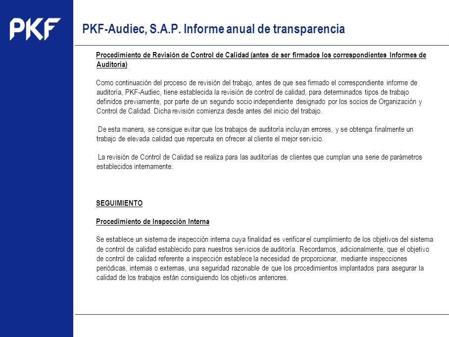 www.pkf.com Type the proposal Procedimiento de Revisión de Control de Calidad (antes de ser firmados los correspondientes Informes de Auditoría) Como