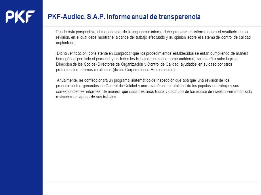 www.pkf.com Type the proposal Desde esta perspectiva, el responsable de la inspección interna debe preparar un informe sobre el resultado de su revisi