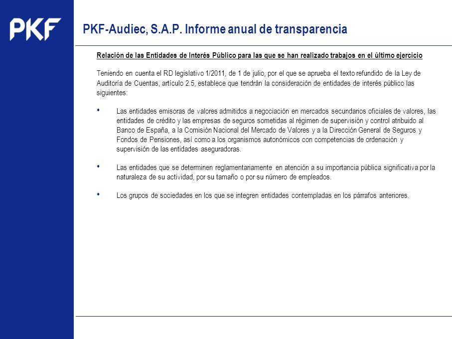 www.pkf.com Type the proposal Relación de las Entidades de Interés Público para las que se han realizado trabajos en el último ejercicio Teniendo en c