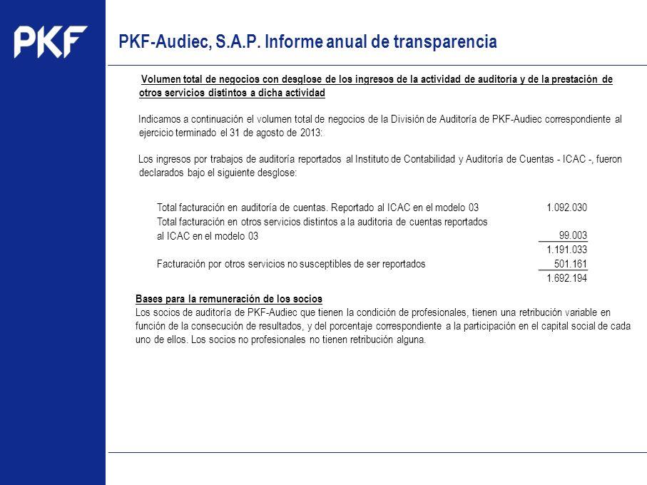 www.pkf.com Type the proposal Volumen total de negocios con desglose de los ingresos de la actividad de auditoría y de la prestación de otros servicio