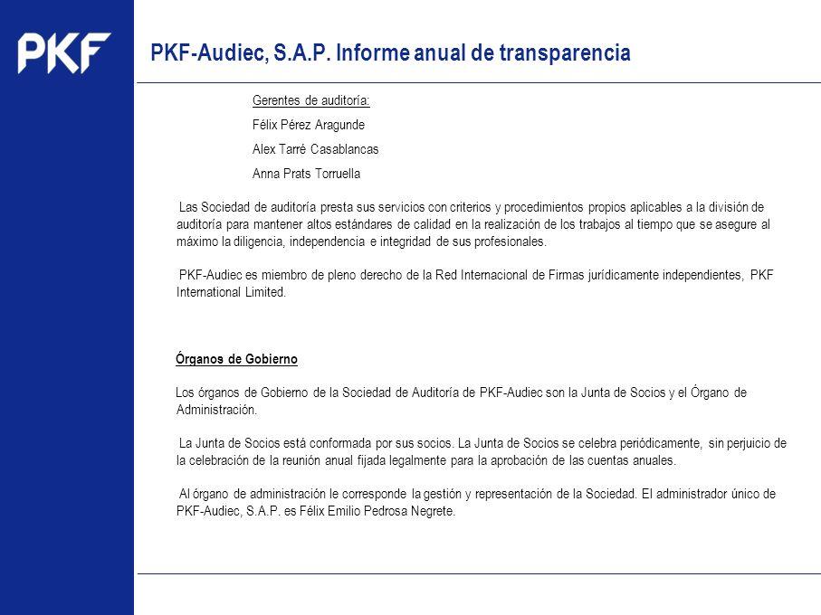 www.pkf.com Type the proposal Gerentes de auditoría: Félix Pérez Aragunde Alex Tarré Casablancas Anna Prats Torruella Las Sociedad de auditoría presta