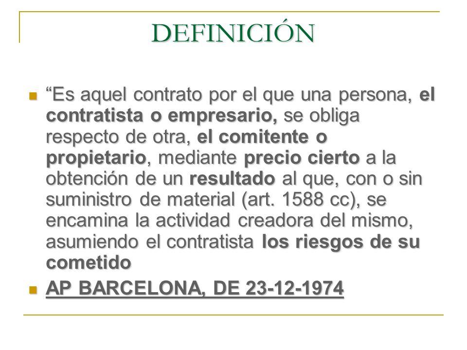 ELEMENTOS DEL CONTRATO DE OBRA: El objeto (el precio) Contratos por piezas o partidas de obra (art.