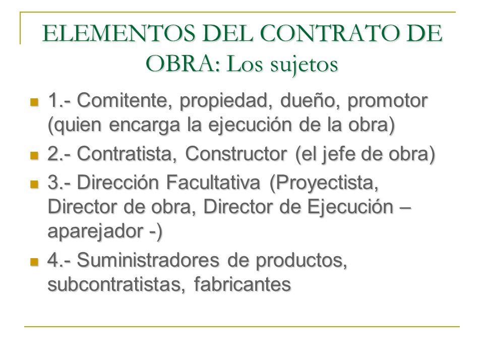 ELEMENTOS TEMPORALES DEL CONTRATO DE OBRA (Plazos) La cláusula penal suele pactarse como una sanción pecuniaria por cada día de retraso respecto del fijado en el contrato.