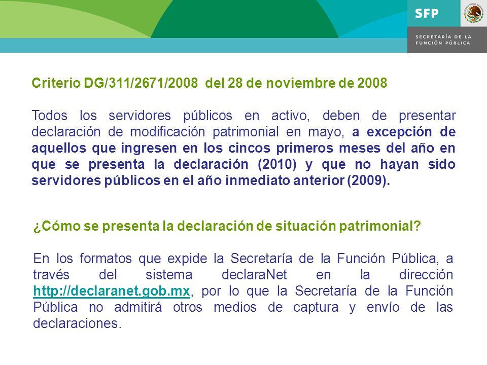 Criterio DG/311/2671/2008 del 28 de noviembre de 2008 Todos los servidores públicos en activo, deben de presentar declaración de modificación patrimon