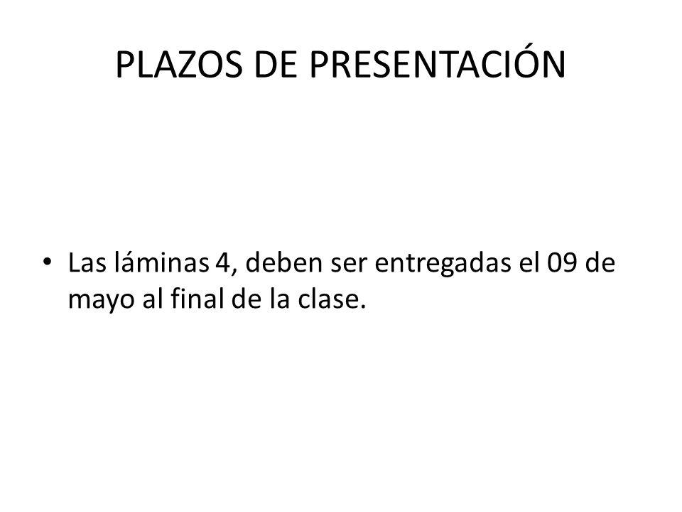 PLAZOS DE PRESENTACIÓN Las láminas 4, deben ser entregadas el 09 de mayo al final de la clase.