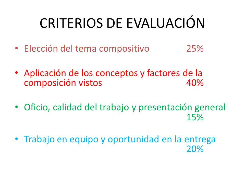 CRITERIOS DE EVALUACIÓN Elección del tema compositivo25% Aplicación de los conceptos y factores de la composición vistos40% Oficio, calidad del trabaj