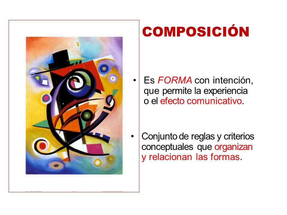 Conjunto de reglas y criterios conceptuales que organizan y relacionan las formas. Es FORMA con intención, que permite la experiencia o el efecto comu