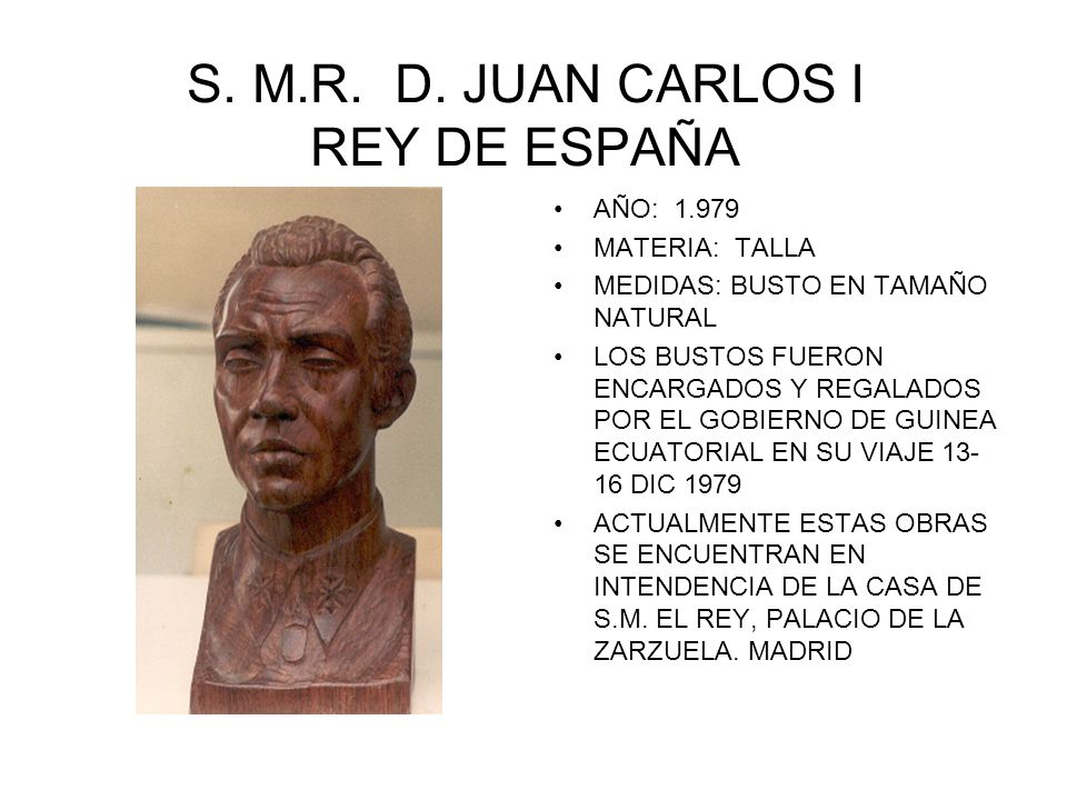 S. M.R. D. JUAN CARLOS I REY DE ESPAÑA AÑO: 1.979 MATERIA: TALLA MEDIDAS: BUSTO EN TAMAÑO NATURAL LOS BUSTOS FUERON ENCARGADOS Y REGALADOS POR EL GOBI