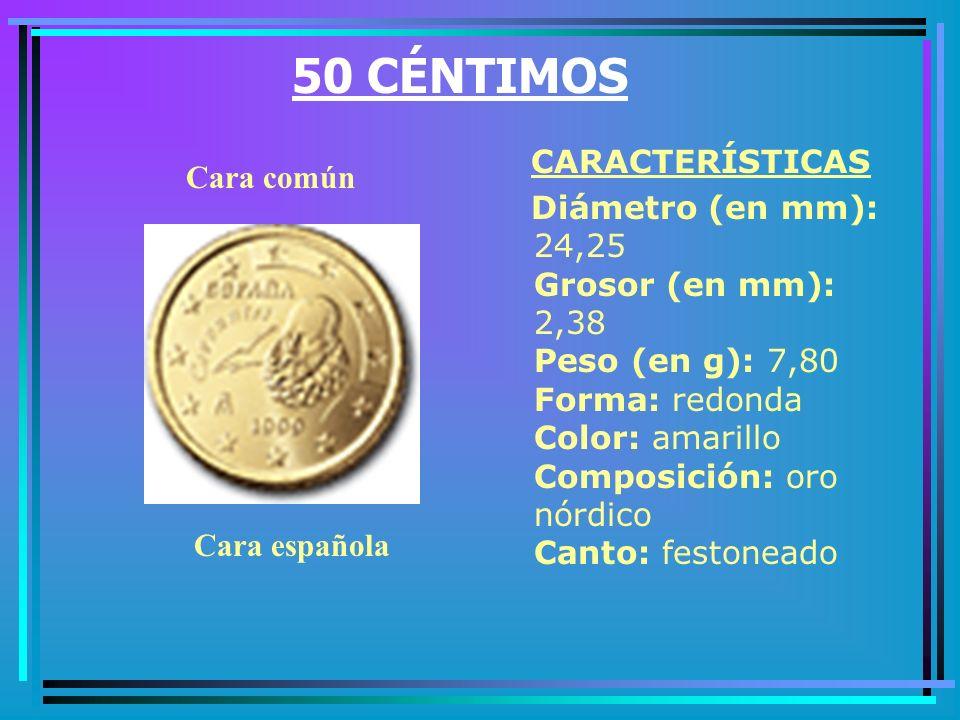 20 CÉNTIMOS CARACTERÍSTICAS Diámetro (en mm): 22,25 Grosor (en mm): 2,14 Peso (en g): 5,74 Forma: flor española Color: amarillo Composición: oro nórdico Canto: liso Cara común Cara española