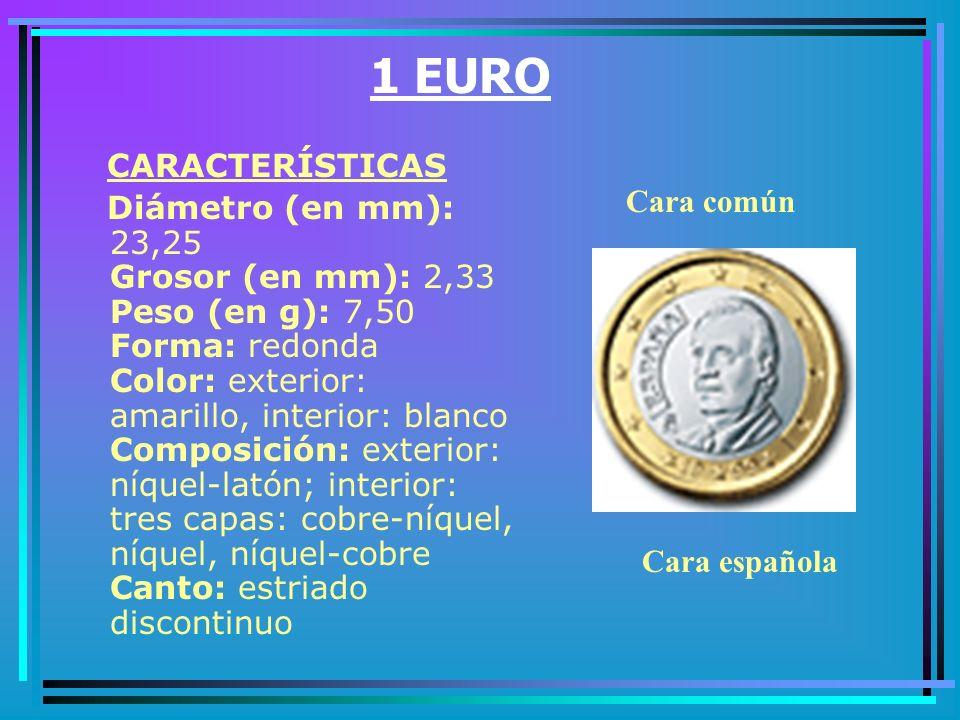 50 CÉNTIMOS CARACTERÍSTICAS Diámetro (en mm): 24,25 Grosor (en mm): 2,38 Peso (en g): 7,80 Forma: redonda Color: amarillo Composición: oro nórdico Canto: festoneado Cara común Cara española